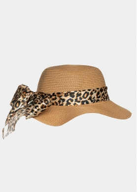 Brown hat with leopard foulard