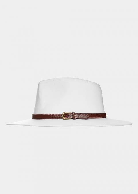 White panama with brown leather belt