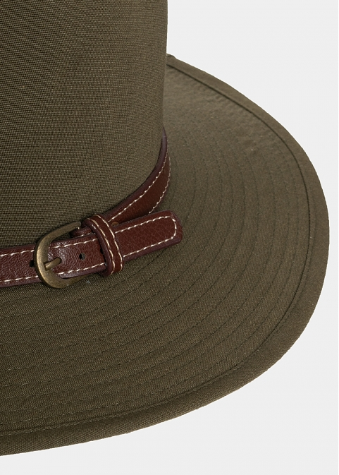 Olive panama with brown leather belt