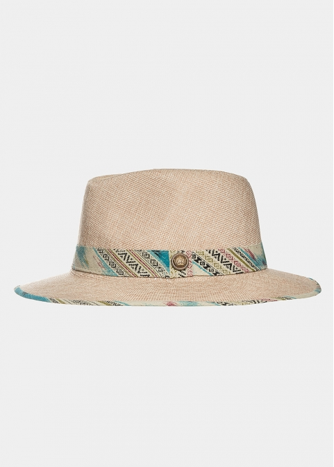 Beige panama with boho strap in turquoise