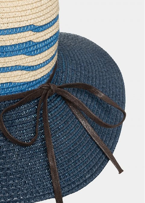Navy blue hat with beige and blue stripes