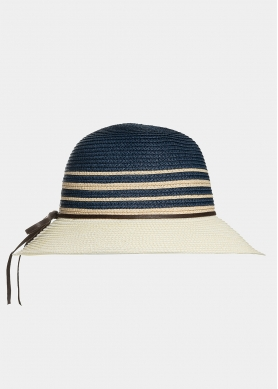 Ecru hat with beige and navy blue stripes