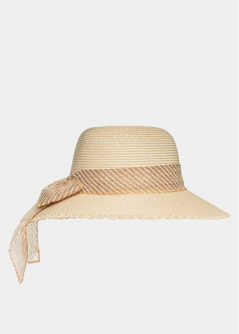 Beige hat with striped ribbon