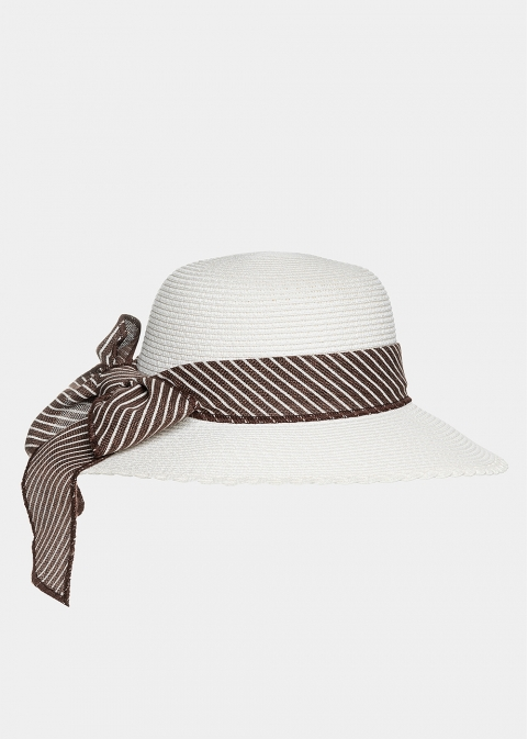 White hat with striped ribbon