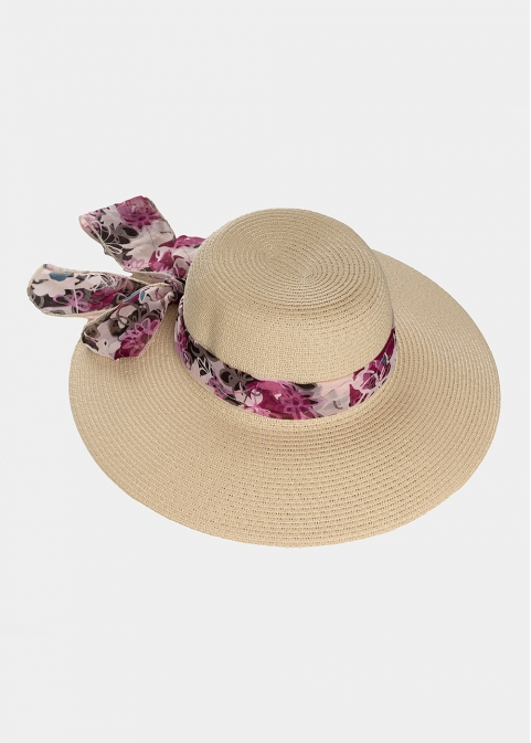 Beige hat with colourful foulard