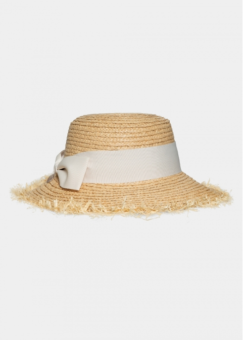 braided straw hat with metal detail