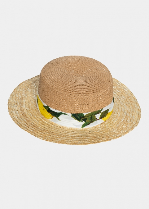 brown & beige straw hat with ribbon