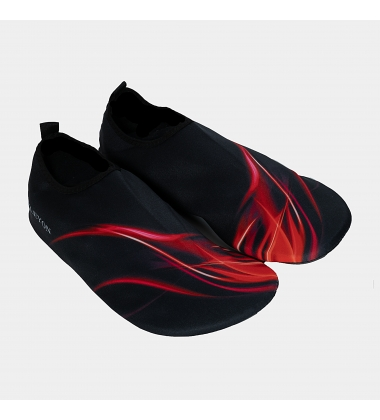 Men, red flames in black