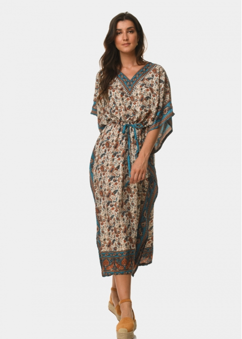 Butterfly azure dress with paisley pattern