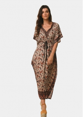 Butterfly brown dress with paisley pattern