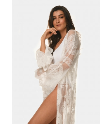 White long-sleeve caftan with circular details