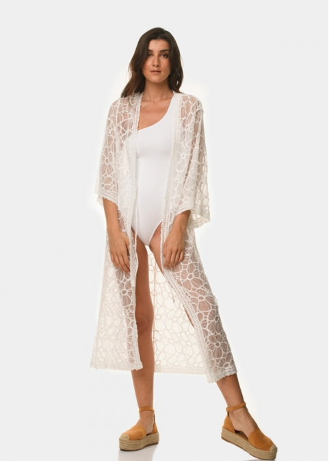 White long-sleeve caftan with flowers