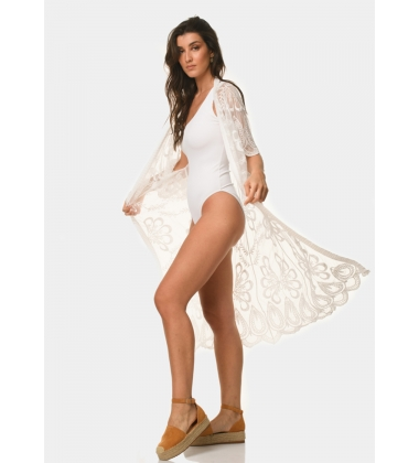 White caftan with half flowers
