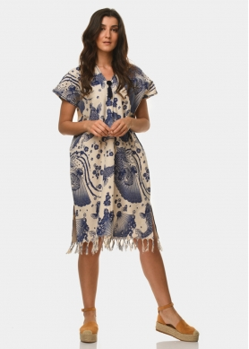 Boho caftan with fishes