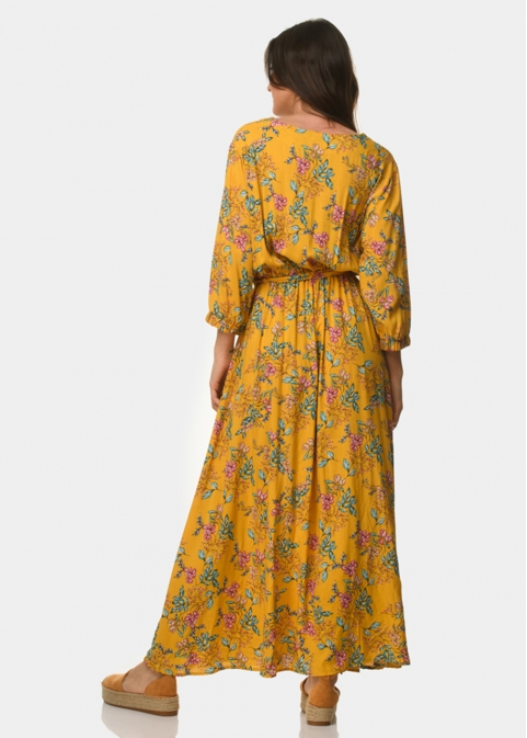 Mustard dress with flowers