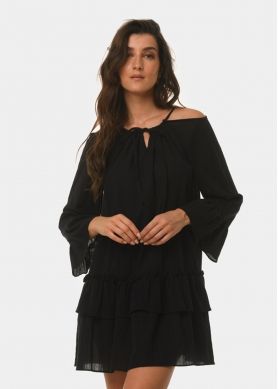 Black open shoulder dress