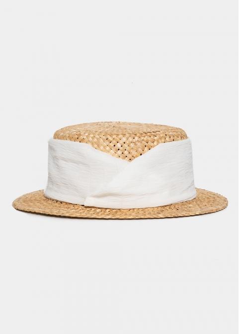 Beige straw hat with white strap