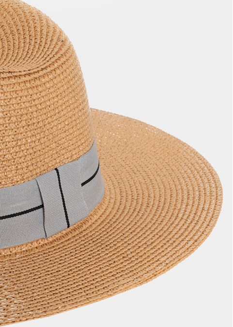 Beige Straw Panama with Grey Strap