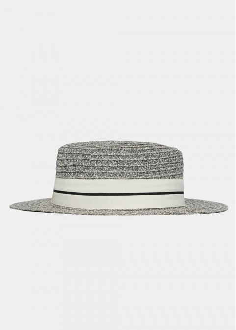 Gray Straw Hat with White Strap