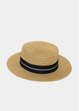 Brown Straw Hat with Black Strap