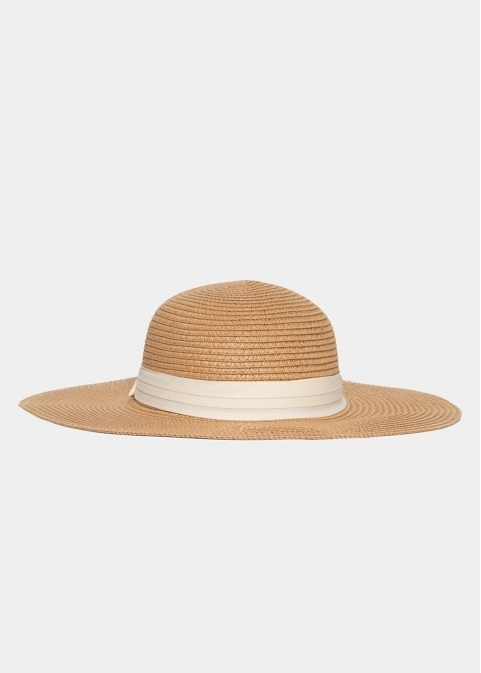 Brown Straw Hat with Cream Ribbon