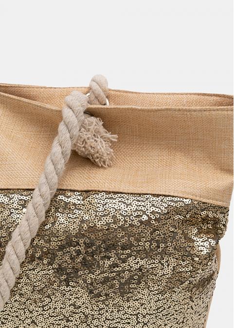 Beige beach bag with bronze sequins