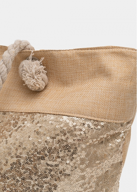 Beige beach bag with gold sequins