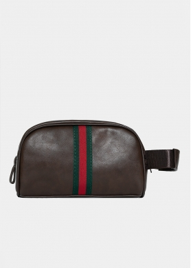 Dark brown nécessaire with green and red stripes