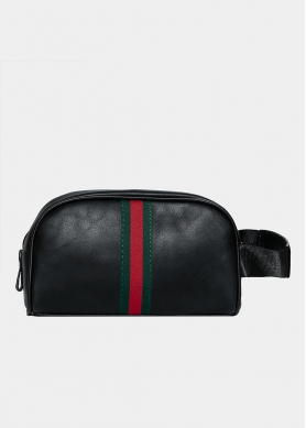 Black nécessaire with green and red stripes