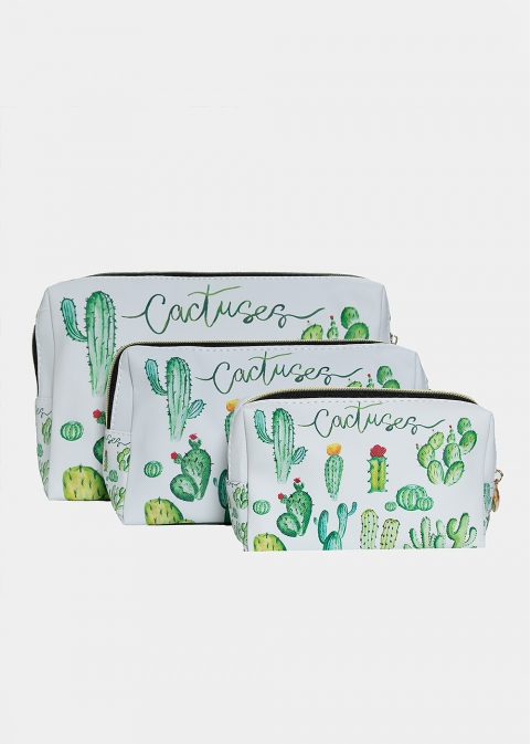 Types of cactuses nécessaire set of three