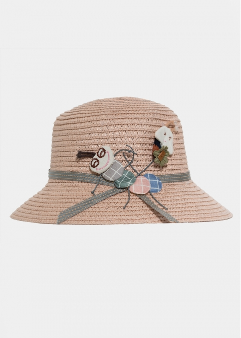 Pink kids hat with a caterpillar