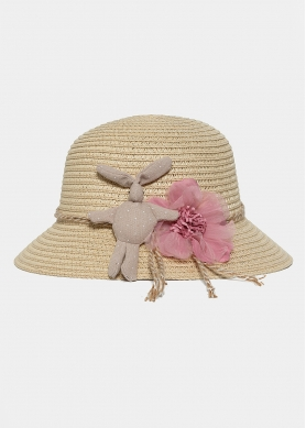 Beige kids hat with a bunny
