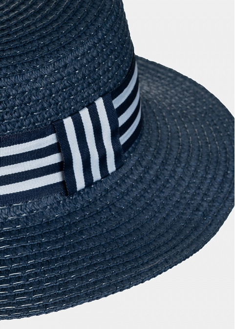 Blue kids hat with blue & white stripes
