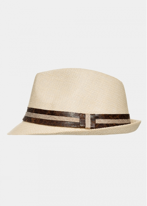 Beige fedora with leather strap