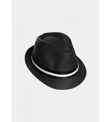 Black fedora with leather strap