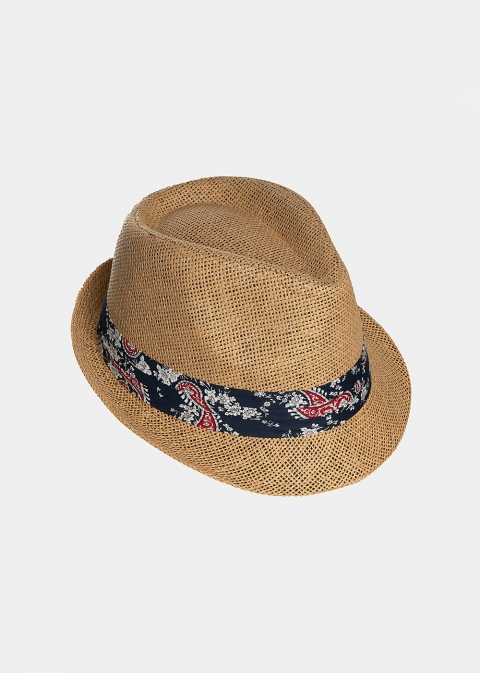 Brown fedora with paisley strap
