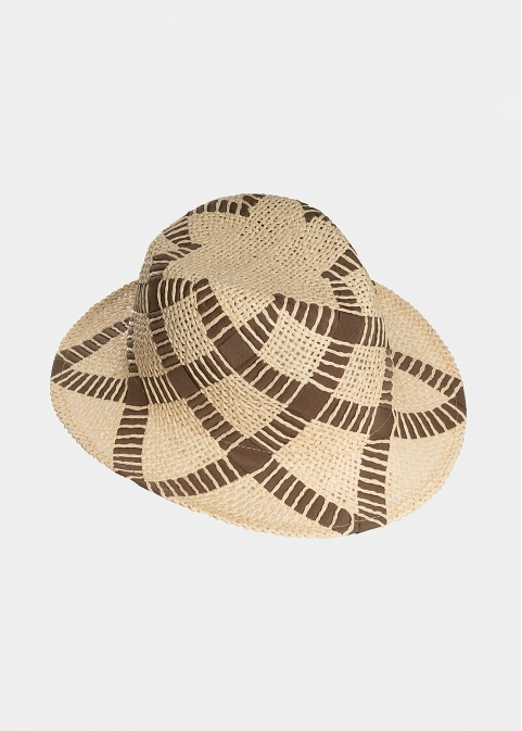 Beige panama with braided foulard