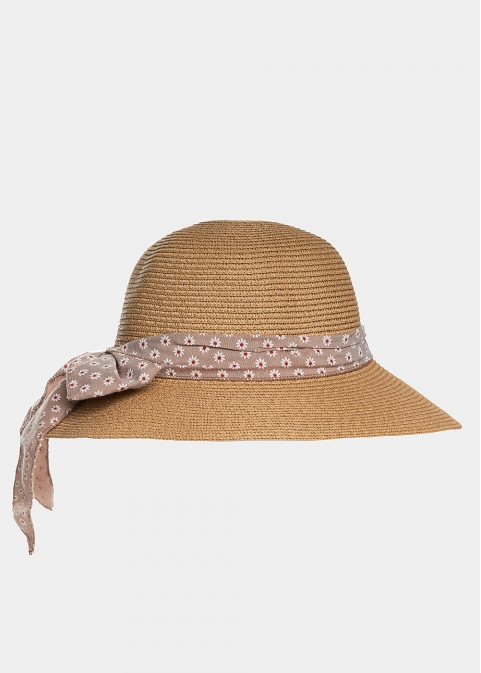 Brown hat with pink foulard