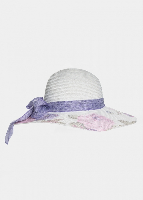 White hat with purple flowers and ribbon