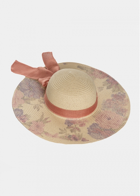 Beige hat with orange flowers and ribbon