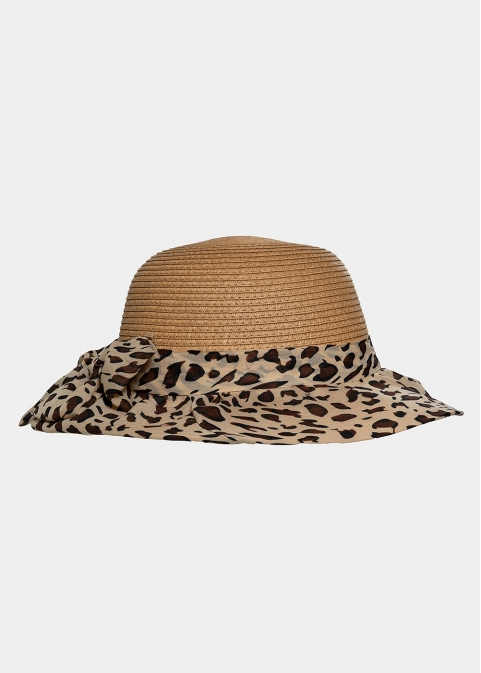 Brown leopard hat with bow