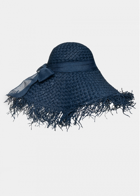 Blue hat with loose strands