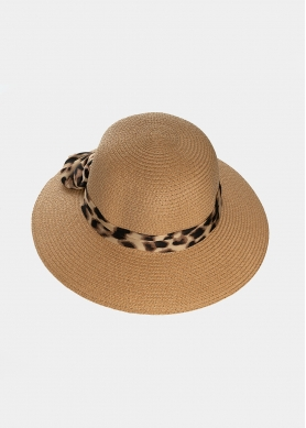 Brown hat with leopard bow