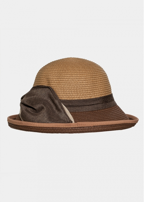 Brown hat with olive bow
