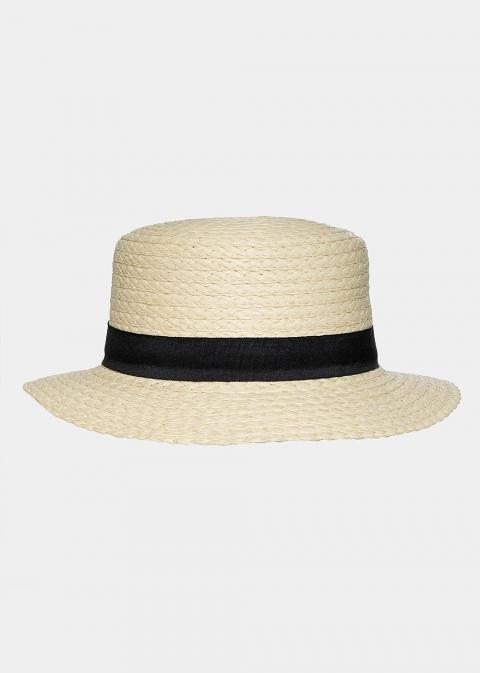 Ecru braided hat with black bow