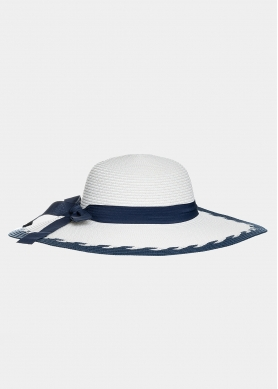 Ice white hat with navy bow