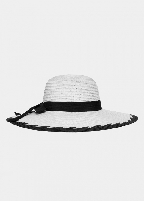 Ice white hat with black bow