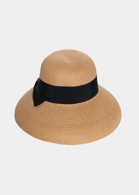 Brown hat with black bow