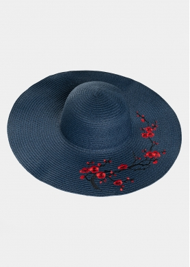 Blue hat with flowers embroidery
