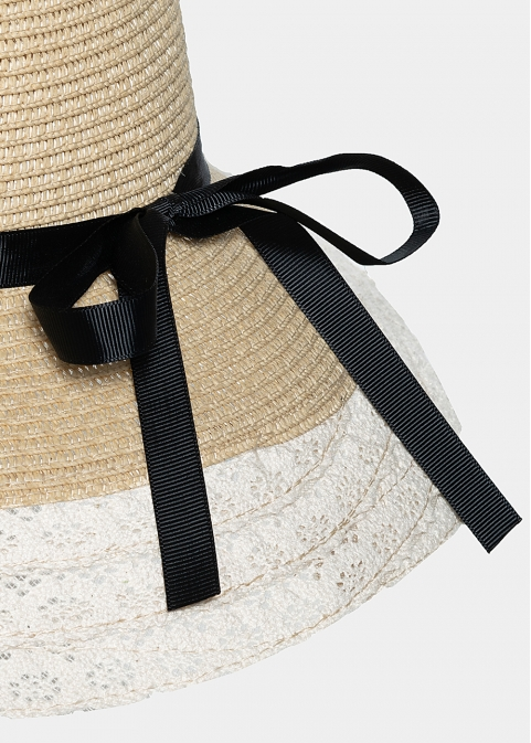 Ecru lace hat with black bow